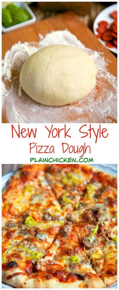 New York Style Pizza Dough Recipe - only 4 ingredients to make the best pizza dough - this dough is so easy to work with! Make the dough and refrigerate until ready to use. Can make up to 3 or 4 days in advance. Great tips to make THE BEST pizza EVER! Better than any restaurant!