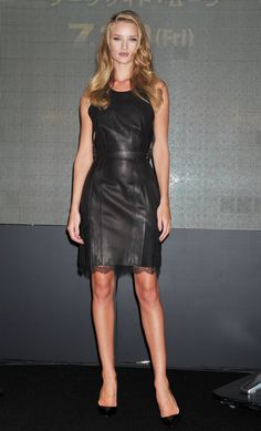 Pin for Later: 73 Times Rosie Huntington-Whiteley's Sexy Looks Scorched the Red Carpet  Rosie wore this lace-trimmed leather Marios Schwab shift with patent Louboutin pumps to a press event in Osaka, Japan.