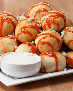 Buffalo Chicken Bombs add chese Source by Buffalo Chicken Bites, Buffalo Chicken Recipes, Chicken Bombs, Tasty, Yummy Food, Game Day Food, Football Food, Appetizer Recipes, Hot Appetizers