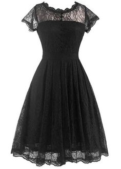 Black Lace Cap Sleeve Fit and Flare Midi Dress