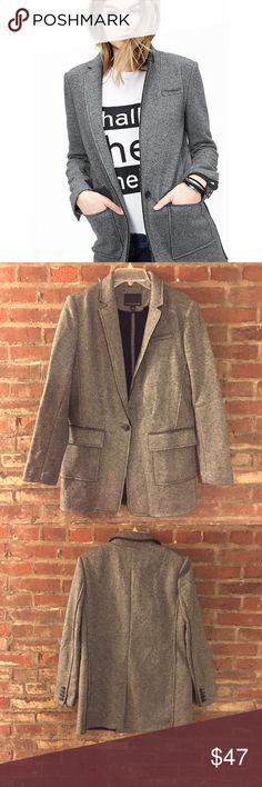 """Banana Republic Gray Textured Boyfriend Blazer Banana Republic Textured Knit Boyfriend Blazer (Knit DB Blazer) Brand New!!! Color: Gray  *Blogger Favorite*  Can be worn as a jacket or blazer. (Meant to be worn open)  Item Description: Center front length: 31"""" (Length hits below the hip) Armpit to Armpit: 19.5"""" 2 front pockets 1 front button closure (comes with extra button attached) 4 button cuffs on sleeve  Sleeve Length: 24.5"""" Notch lapel Center back vent Unlined. Dry Clean Material: 52%…"""