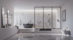 @lazienki_inspiracje Czarna armatura łazienkowa Omnires. #omnires #polskamarka #omniresinspiracje #wnetrzazesmakiem #bateria #budowadomu #faucet #mojemieszkanie #baterialazienkowa #castorama #interior4all #instapic #tile #inspiracje #inspiration #bathroominspiration #bathroomofinstagram #interiorandhome #mynordicroom Divider, Bathtub, Black And White, Bathroom, Furniture, Home Decor, Design, Standing Bath, Washroom