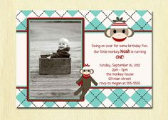 Sock Monkey Birthday Invitation  First Birthday by DesignBugStudio, $12.00
