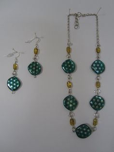 Teal Chain Necklace set by StylishlyHandmade on Etsy, $35.00