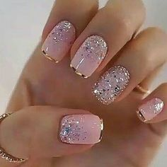 Glitter Gel Nails, Cute Acrylic Nails, Pink Nails, Cute Nails, Nail Glitter Design, Glitter Pedicure, Sparkle Nail Designs, Fancy Nails Designs, Elegant Nail Designs