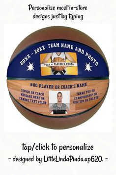 Blue 2 Photos, Text Custom Made Basketball - tap, personalize, buy right now! #coach, #coaches, #players, #senior, #navy