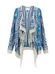 Ethnic Fusion Asymmetrical Tassels Printing Knitted Cardigans