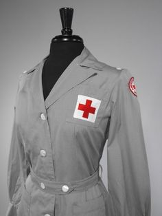 """Vintage WWII Red Cross """"Gray Lady Service"""" Completely Wearable 