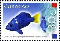 Stamp: Blue Hamlet (Hypoplectrus gamma) (Curaçao) (Constitution) Mi:CW 6,NVP:CW 6,WAD:CW004.11