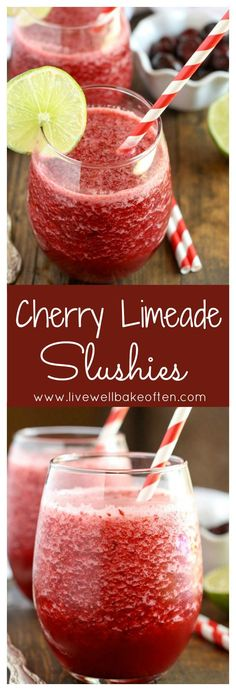 These cherry limeade slushies are easy to make and perfect for summer! These cherry limeade slushies are easy to make and perfect for summer! Slushies, Party Drinks, Cocktail Drinks, Cocktails, Refreshing Drinks, Summer Drinks, Summer Deserts, Summer Bbq, Summer Fruit