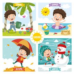 Illustration of kid and four seasons Vector Infant Activities, Activities For Kids, Preschool Charts, School Board Decoration, Weather Seasons, Baby Learning, Home Schooling, English Lessons, Four Seasons