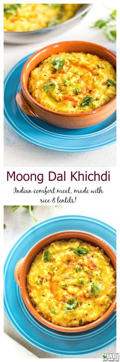 Moong Dal Khichdi is a healthy and comforting meal made with rice and lentils. It's lightly seasoned and good for you! Find the recipe on www.cookwithmanali.com