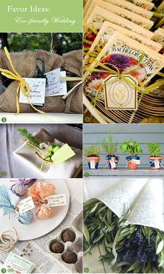 Eco-friendly wedding favor ideas: flower seeds and tree saplings