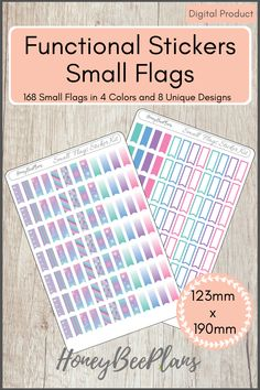 168 Functional Small Flags stickers in 4 colors, Pink, Blue, Green and Purple and 8 Unique Designs. This sticker kit is designed for planning in your planner. Printable downloadable file allows you to print and cut either by hand or with a cutting machine of your choice. Printable Planner Stickers, Printables, Green And Purple, Pink Blue, Small Flags, Print And Cut, Kit, How To Plan, Colors