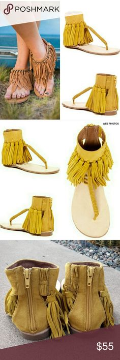 """New JEFFREY CAMPBELL Morava Fringe Suede Sandal - Thong toe - Contrasting suede and leather construction - Fringed detail - Ankle cuff with back zip closure - Approx. 9.5"""" opening circumference - Imported - Materials: Suede and leather upper, manmade sole New, never worn.  Mark on sole and faint discolorations on fringe.  See pics.  Overall excellent condition.  Size 6.5.  No box. Jeffrey Campbell Shoes Sandals"""