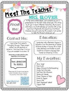Allow parents and students the opportunity to get to know their teacher better by giving them this Editable Meet The Teacher Night Handout at Open House, or send home on the first day of school with your welcome packet. Back to school night Letter To Teacher, Letter To Parents, Parents As Teachers, Teacher Introduction Letter, Teacher Forms, Teachers Pay Teachers Freebies, Teacher Freebies, Back To School Night, Classroom Management