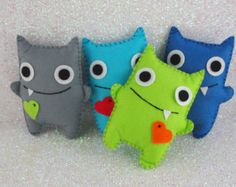 Boys Felt Monsters Adopt A Monster Monster Party Felt Monsters Monster Plushie Monster Themed Party Monster Party Felt Party Favor Syidéer Mini Monster, Monster Toys, Monster Party, Sock Monster, Sewing Toys, Sewing Crafts, Sewing Projects, Adopt A Monster, Monster Birthday Parties