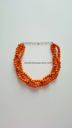 Hey, I found this really awesome Etsy listing at https://www.etsy.com/listing/449907346/orange-necklace-braided-statement