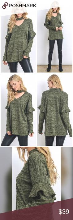 PREORDER Gorgeous so soft brushed hacci top LAST 2 Stunning in Olive this cozy sweater Tunic is right on trend and is soft - comfy and warm Tops Tunics