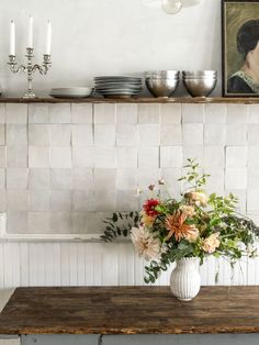 weathered white clé zellige in this old hudson kitchen backsplash designed by browse through clé tile's alluring zellige terracotta collection. Kitchen Shelves, Kitchen Tiles, New Kitchen, Kitchen Decor, Awesome Kitchen, White Tile Backsplash Kitchen, Backsplash Design, Basic Kitchen, Beautiful Kitchen