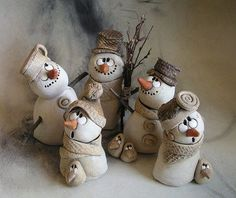 result for pottery suggestions christmas - Diy and craft Clay Christmas Decorations, Polymer Clay Christmas, Christmas Ornaments, Christmas Christmas, Paper Clay, Clay Art, Snowman Crafts, Holiday Crafts, Navidad Diy