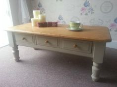 Beautiful Farmhouse Style Solid Pine Shabby Chic Coffee Table with 3 Drawers on Gumtree. Beautiful Reclaimed Farmhouse Style Coffee Table with Shelf This is a stunning, vintage solid pin