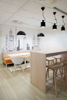 fresh and lovely work space. clean and simple office.