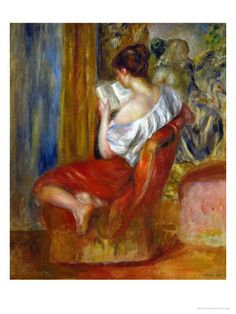 Reading Woman, circa 1900-Pierre-Auguste Renoir. Luscious colors. Renoir's women are so beautiful.