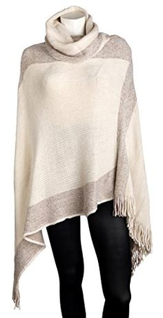 Sportoli Womens Thick Warm Knitted Winter Shawl Cape Poncho Wrap with Cowl Neck  Tan One Size ** Check out this great product.