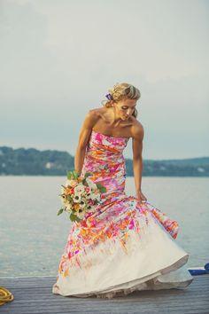 Fun Print Pink Wedding dress. Monique Lhuillier