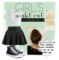 """""""Random Teen Outfit #4"""" by zaraquinnyap ❤ liked on Polyvore featuring Chicwish, Sonix, Converse, outfit, girl and women"""