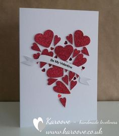 Red glittery hearts made into one heart hand made valentines card  #RePin by AT Social Media Marketing - Pinterest Marketing Specialists ATSocialMedia.co.uk