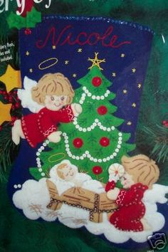 Christmas Bucilla Felt Applique Holiday Stocking Kit Nativity Angels never seen this one