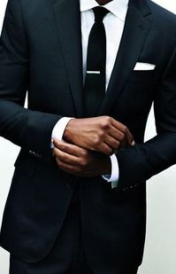 Black One Button Slim Fitting Suit