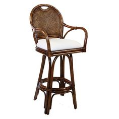"Hospitality Rattan Classic Indoor Swivel 30"" Bar Stool with Cushion"