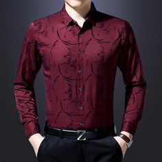 Casual business slim fit men shirt long sleeve floral social shirts $54.38