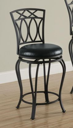 Black Metal Swivel 24 Inch Seat Counter Stool Chair by Coaster  http://www.cccstores.com/black-counter-stool-coaster-122059.html