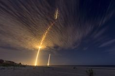 This composite photograph combines three separate long exposures. It shows the launch and landing of a SpaceX Falcon 9 rocket on July 18, 2016. The launch delivered thousands of pounds of supplies and science to astronauts at the International Space Station.JOHN KRAUS #Photography #Rocket