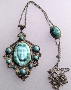 Blue glass Egyptian Revival pendant necklace.  Photograph Gillian Horsup.