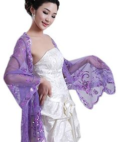 Women's Sequined Wedding Shawl Wrap Formal Evening Party Sequins Shawls Scarves (style2 purple)