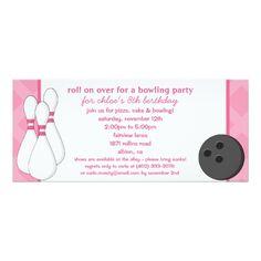 Bowling Birthday Party Invitations Princess Pink Roll on Over Bowling Birthday Party Card