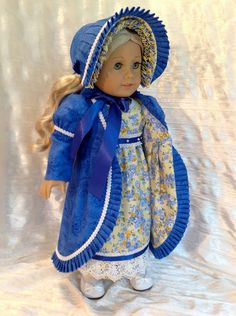 1812 Regency royal blue and yellow dress, coat and bonnet...another stunning coat and bonnet by Kenna! $179