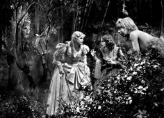 Oberon and Puck looking on at Helena & Hermia in the forest
