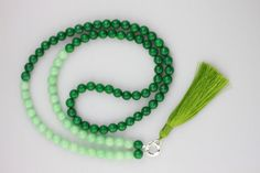 The Empress Tassel Necklace - Semi precious faceted Moss and Mint Jade beads
