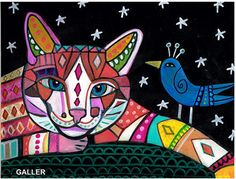 Cat Original Painting by Heather Galler Cat and Blue Bird Mexican Folk Art OOAK #folkart