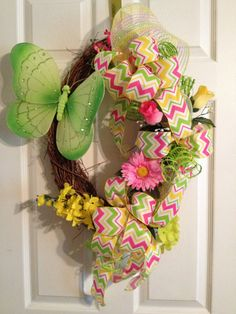 Summer Floral Butterfly Grapevine Wreath with Chevron Bow on Etsy, $40.00
