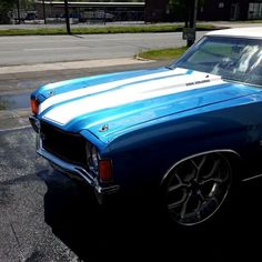 video clip of 72 chevelle #BecauseSS blue and white Corsa Rucci forged wheels 22 inch