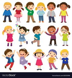 Multicultural children in different positions isolated on white background - Happy kids cartoon collection. Multicultural children in different positions isolated on white background Cartoon Cartoon, Happy Cartoon, Kids Vector, Free Vector Art, Photo Deco, Image Clipart, Jack Kirby, Kids Hands, Super Happy