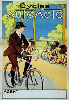 Poster advertising Cycles Automoto, a French manufacturer of motorcycles and bicycles based in St. Etienne (c. 1920)