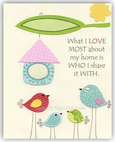Nursery wall art Print Kids room birdsWhat I LOVE by DesignByMaya, $17.00